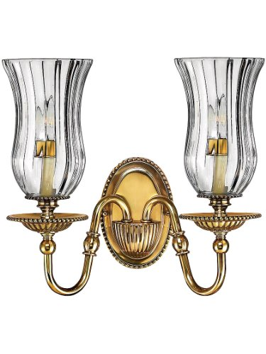 Hinkley 4642BB Traditional Two Light Wall Sconce from Cambridge collection in Brassfinish,