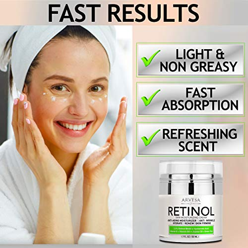 51shFVgZrnL - NEW 2020 Retinol Moisturizer Cream for Face and Eye Area - Made in USA - with Hyaluronic Acid - Active Retinol 2.5% - Anti Aging Face Cream to Reduce Wrinkles & Fine Lines - Best Day and Night