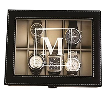 Personalized Black Watch Storage Box With Initial   Groomsman Fathers Day  Gift   Custom Monogrammed