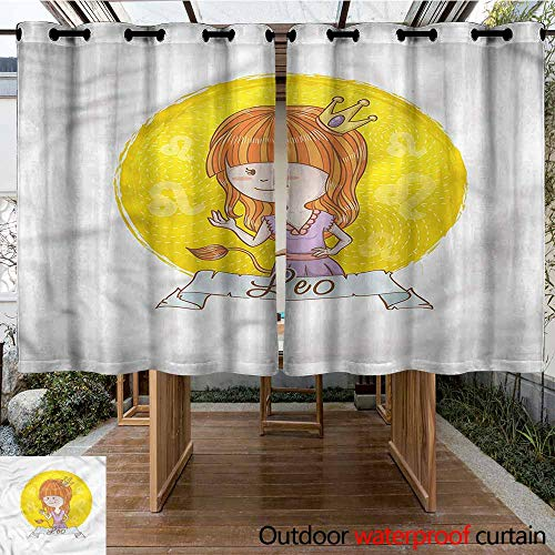 Sunnyhome Outdoor Grommet Window Curtain Zodiac Leo Girl with Lion Tail Leo for Porch&Beach&Patio W 63