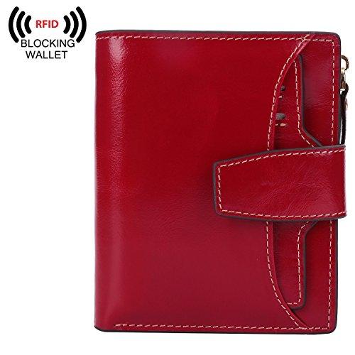 BIG SALE-AINIMOER Women's RFID Blocking Leather Small Compact Bi-fold Zipper Pocket Wallet Card Case Purse (Waxed Red)