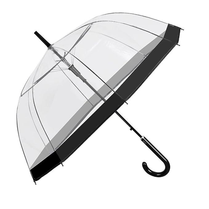 Ombrello Donna Trasparente Automatico - Ombrello Cupola con Bordo Nero -  Resistente e Antivento - Diametro 89 cm - Perletti  Amazon.it  Abbigliamento f059ddd1e317