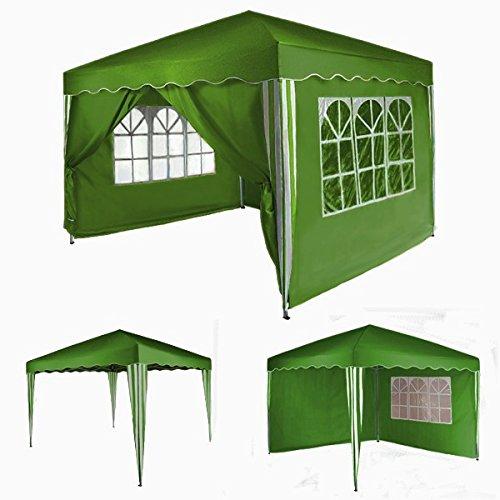 Pavillon PARADISE Gartenzelt Faltpavillon 3 m x 3 m ohne, mit 2 oder 4 Seitenteilen von BB Sport, Farbe:grün;Pavillon Seitenwände:ohne Seitenwände