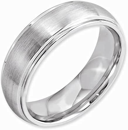 Top 10 Jewelry Gift Cobalt Satin and Polished 7mm Ridged Edge Band