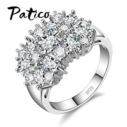 JEWH Pure 925 Sterling Silver Sparkling Rings for Women - Girls Brilliant CZ Crystal Wedding Engagement