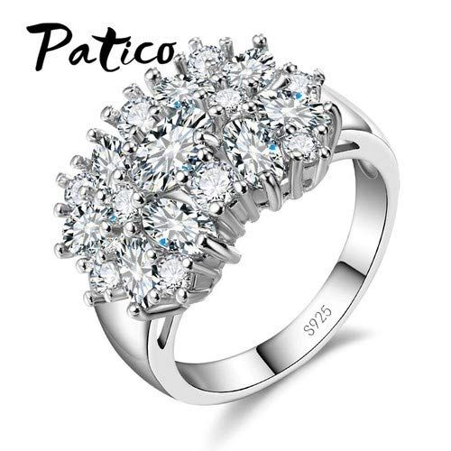 Amazon.com: JEWH Pure 925 Sterling Silver Sparkling Rings for Women - Girls Brilliant CZ Crystal Wedding Engagement Jewelry - Summer Sale for Clients ...