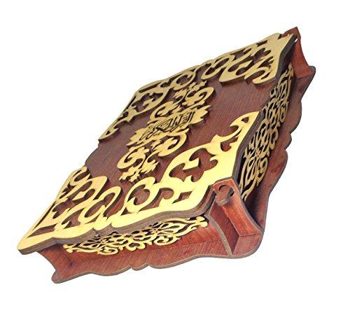 Handmade Wooden Engraved Wood Quran Box Cover Stand Holder Case With Arabic Holy Koran Qur'an Quraan Mushaf Uthmani Osmani Script Decorative Décor Islamic Islam Muslim Allah Eid Ramadan Gift by bonballoon