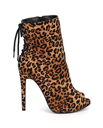 Liliana Dk64 Kvinner Peep Toe Bak Blonde Zip Stiletto Tøffel - Leopard Faux Suede