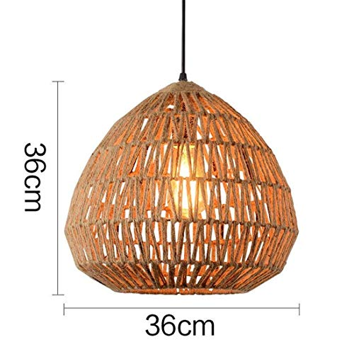(WHKHY Pendant Lamp Chandelier Professional Personality Cannabis Rope Pendant Floodlight Hotel Hook Chrome Flax Shop Objects Decoration Lights Modern Retro Lights, 36 36 cm)