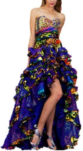 Meier Women's Strapless Print Ruffle High Low Gown 4040