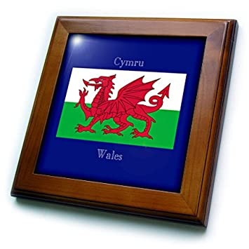 3dRose ft_165735_1 Flag of Wales on Dark Blue Background Wales Printed in English, Welsh Framed Tile, 8 by 8