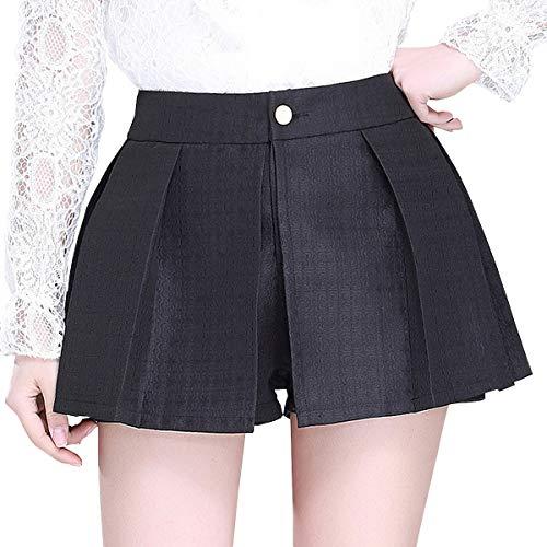 DISSA FS553 Jupe Club Mini Short Grande Taille Plisse Noir