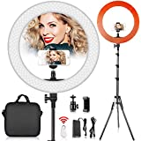 18 inch LED Ring Light with 2M Stand for Phone and Camera, FOSITAN 18 inches/48cm Outer 55W 5500K/3200K Dimmable w/Filters Carrying Bag for YouTube Vlog Makeup Studio Video Shooting Salon Photography