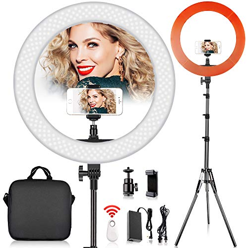 18 inch LED Ring Light with 2M Stand for Phone and Camera, FOSITAN 18 inches/48cm Outer 55W 5500K/3200K Dimmable w/Filters Carrying Bag for YouTube Vlog Makeup Studio Video Shooting Salon Photography ()
