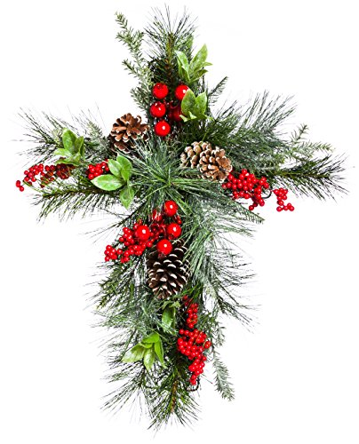 Cypress Home Holly and Pinecone Wall Hanging Floral Decor - Evergreen Pinecone Wall