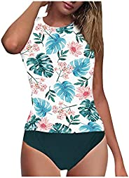 GZMMYI 2 Piece Tankini Swimsuits for Women Plus Size Swimsuits High Waisted Tummy Control Boyshort Tankini Bat