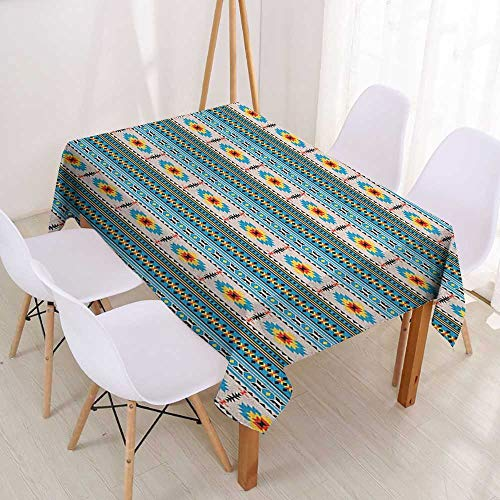 Polyester Fabric Tablecloth Custom Afghan,Tribal Illustration of Geometric Shapes Rhombuses Stripes Middle Eastern Pattern,Multicolor,for Banquet Decoration Dining Table Cover 60
