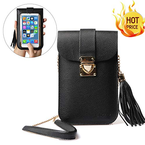 Cell Phone Bag, LKZAIY PU Leather Small Crossbody Bag with Detachable Chain Shoulder Strap Clear Purse Wallet for Women (Button Women Shoulder Bags)
