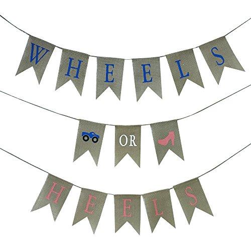 - JennyGems - Wheels or Heels Gender Reveal Banner - Baby Shower Burlap Party Decoration - Pregnancy Announcement - Baby Reveal Pregnancy Announcement - Baby Reveal - Blue or Pink - Pre-Strung