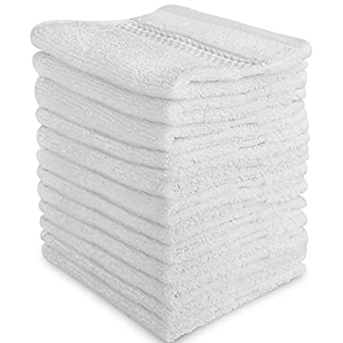 Luxury Cotton Washcloths (12-Pack, White, 12x12 Inches) - Easy Care, Fingertip Towels, Facial Towelettes, Cotton Hand Towels - by Utopia Towels