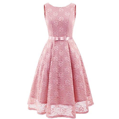 Soire Robe Nouvelle Nouvelle De Vintage Lace Robe Dentelle V Longue Pink Col Manches sans ApwwSq