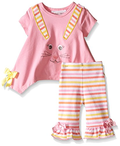 Bonnie Baby Baby Two Piece Easter Bunny Appliqued Playwear Set, Pink, 3-6 Months