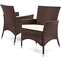 Best Choice Products Set of 2 Outdoor Patio Wicker Dining Chairs (Brown)