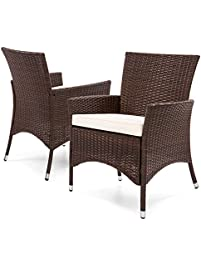 best choice products outdoor patio wicker dining chairs set of 2