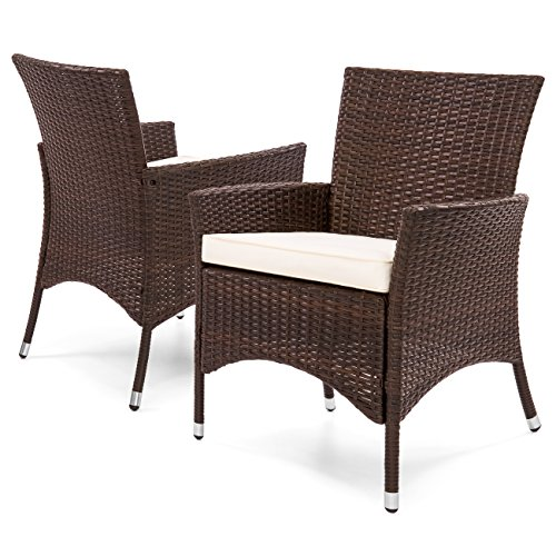 Best Choice Products Set of 2 Modern Contemporary Wicker Patio Dining Chairs for Backyard, Patio, Garden with Water-Resistant Cushions, Brown