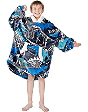 Winthome Oversized Blanket Hoodie Flannel Wearable Blanket Sweatshirt with Pocket and Sleeves Soft & Warm lounging hoodie for Kids (Blue, kids)
