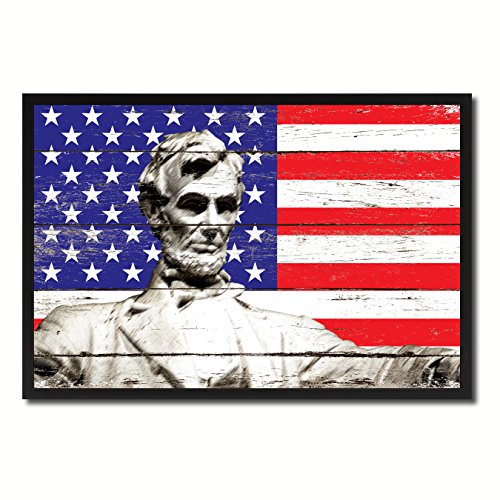 Abraham Lincoln Memorial USA Flag Vintage Canvas Print Picture Frame Home Decor Man Cave Wall Art Collection Gift (Lincoln Memorial Photo)