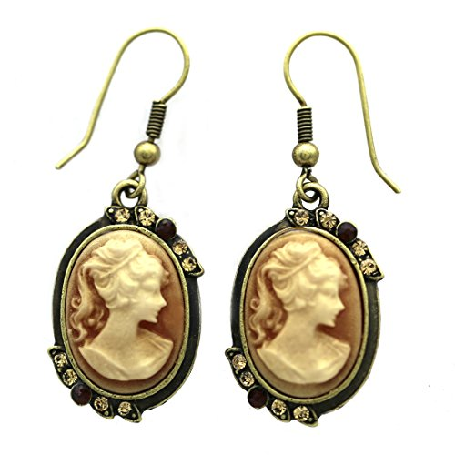 SoulBreezeCollection Brown Cameo Drop Dangle Earrings Rhinestones Fashion Jewelry (Brown)