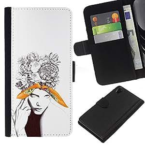 YiPhone /// Tirón de la caja Cartera de cuero con ranuras para tarjetas - Hermosa floral tatuaje Mujer - Sony Xperia Z2 D6502