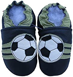 Carozoo baby boy soft sole leather infant toddler kids shoes Soccer Dark Blue 7-8y