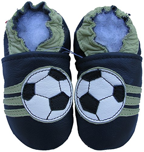 Price comparison product image Carozoo baby boy soft sole leather infant toddler kids shoes Soccer Dark Blue 18-24m