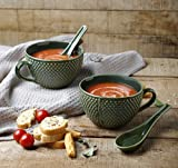 Ceramic Bowl Set for Soup Supper Noodles Cereal Handcrafted with Spoon Set of 2 Mug Cup Home Kitchen Serveware (Green)