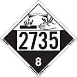 Labelmaster ZEZ42735 UN 2735 Corrosive Hazmat Placard, E-Z Removable Vinyl (Pack of 25)