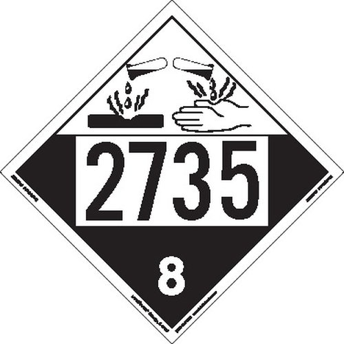 Labelmaster ZEZ42735 UN 2735 Corrosive Hazmat Placard, E-Z Removable Vinyl (Pack of 25)