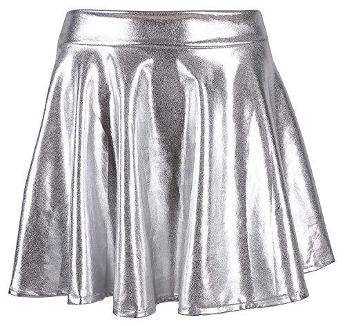 Metallic Silver Skirt - Women's Liquid Metallic Skirt Wet Look