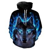 QJH Wolf Tiger Lion Print Sweatshirt Unisex Realistic 3D Digital Hooded Hoodie