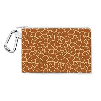 Giraffe Print Canvas Zip Pouch - 2XL Canvas Pouch 13x10 inch - Multi Purpose Pencil Case Bag