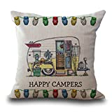 Rita Home Decor Cute Cartoon Camping Car Happy Campers Throw Pillow Covers 18x18 inch Cushion Cover Pillowcase with Zipper Cotton Linen Burlap Square Pillow Cover for Sofa Home Decor