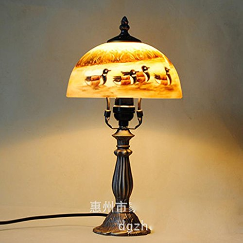 Julitech LED E27 Table Lamp Retro Chinese style For Bedroom Living Room Decoration Lighting Painting Duck Glass Wrought Iron Bedside Desk Lamp ()