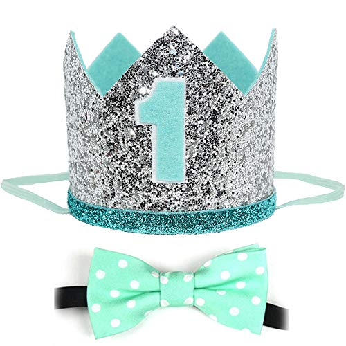 Maticr Glitter Baby Boy First Birthday Crown with Prize Badge or Bow Tie Bibs for Cake Smash Photo Prop (Large Mint Silver Kits) (Boy First Birthday Bow Tie)