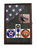 DisplayGifts Military Memorial Shadow Box for 3'X5' or 4'X6' Flag Folded, wood FC09-MA