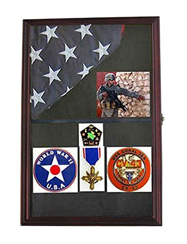 Military Shadow Box Flag Display Case Medal Keepsake Box, Solid Wood, Glass Door, Wall Mountable, (Mahogany Finish) (Mahogany Door Frame)
