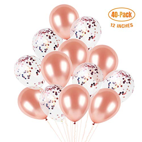 Rose Gold Confetti Balloons Set 12 Inches (40-Pack), Clear Balloons with Confetti Inside and Pink Balloons, Princess Birthday Balloon Arch Kit for Girls, Decoration for Wedding, Bridal Shower