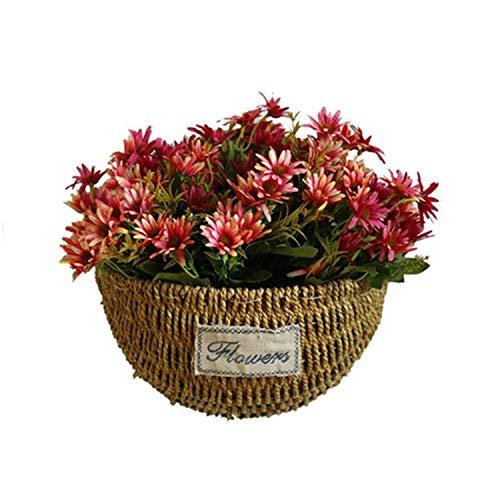 Three Patterns Grass Rattan Braided Basket Green Plant Basket Wall Hanging Flower Pot Home Desk Hanging Decoration,L