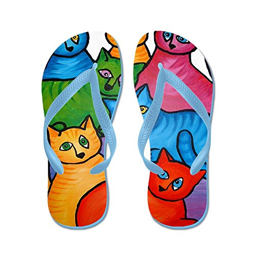 Cafepress En Katt Två Cat - Flip Flops, Roliga Rem Sandaler, Strand Sandaler Caribbean Blue