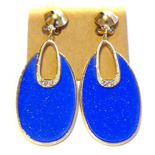 Clip-on Earrings Oval Hoop Dangle Bright Blue Clip Earrings